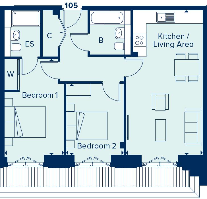 Apartment 105 floorplan image
