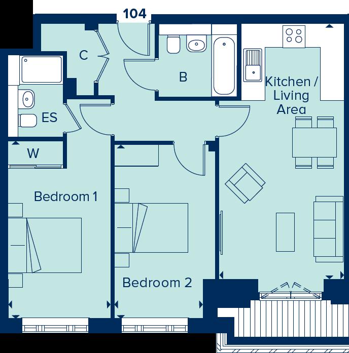 Apartment 104 floorplan image