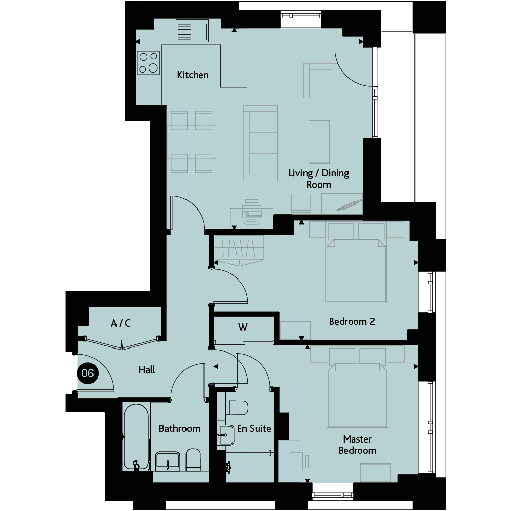 Apartment 2E floorplan image