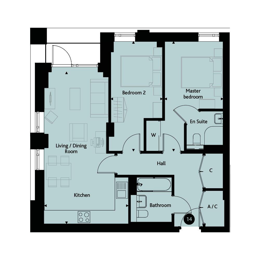 Apartment 2C floorplan image