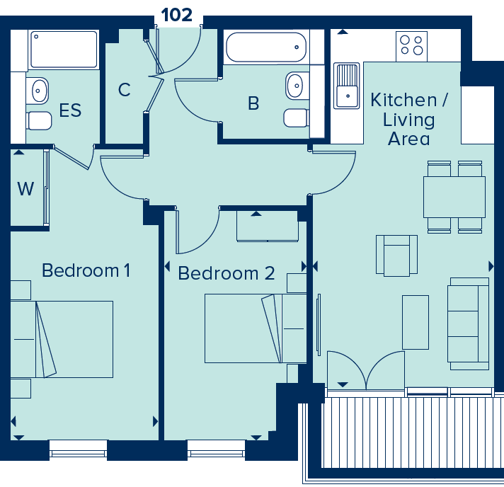 Apartment 102 floorplan image
