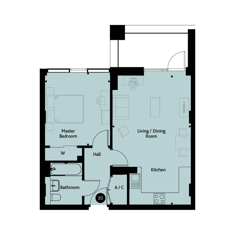 Apartment 1D floorplan image
