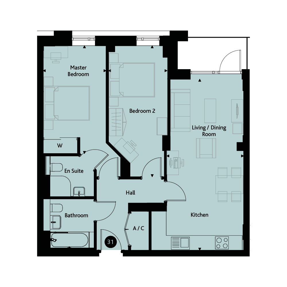 Apartment 2D - Seventh Floor floorplan image