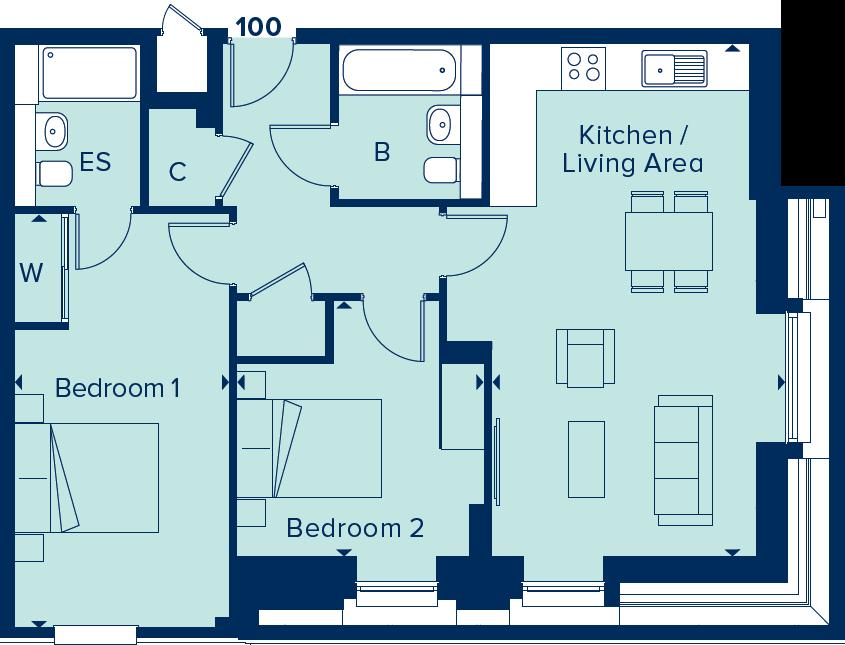 Apartment 100 floorplan image