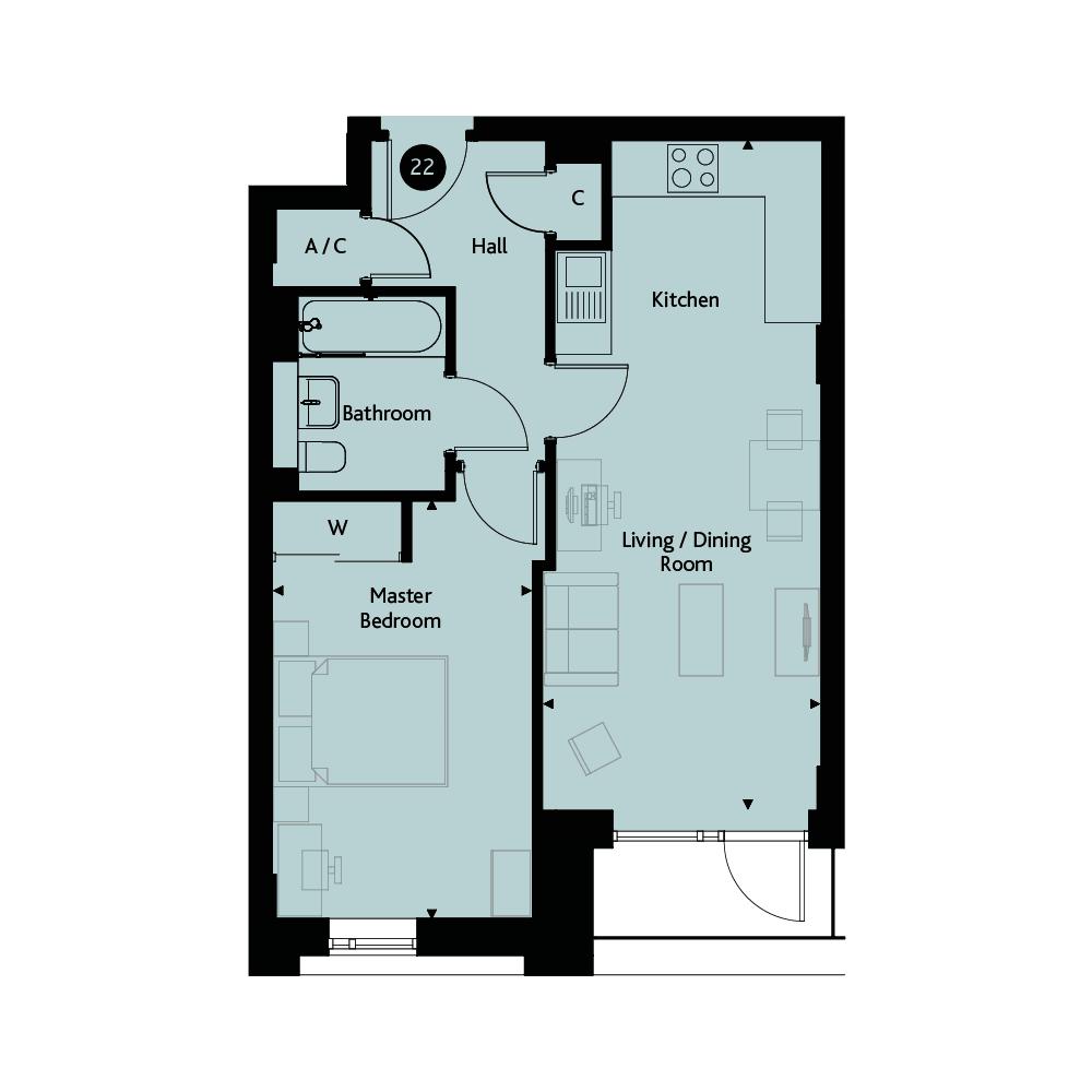 Apartment 1C floorplan image