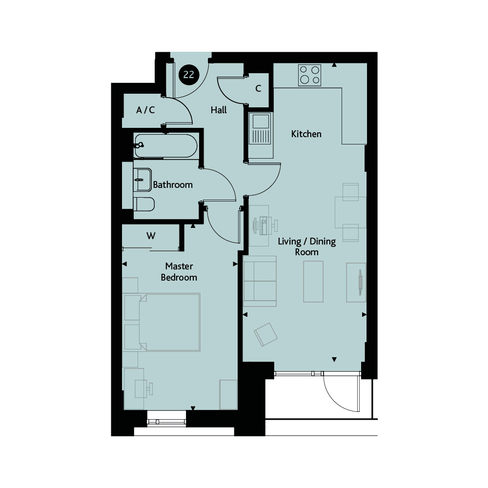 Apartment 1C - Second Floor floorplan image