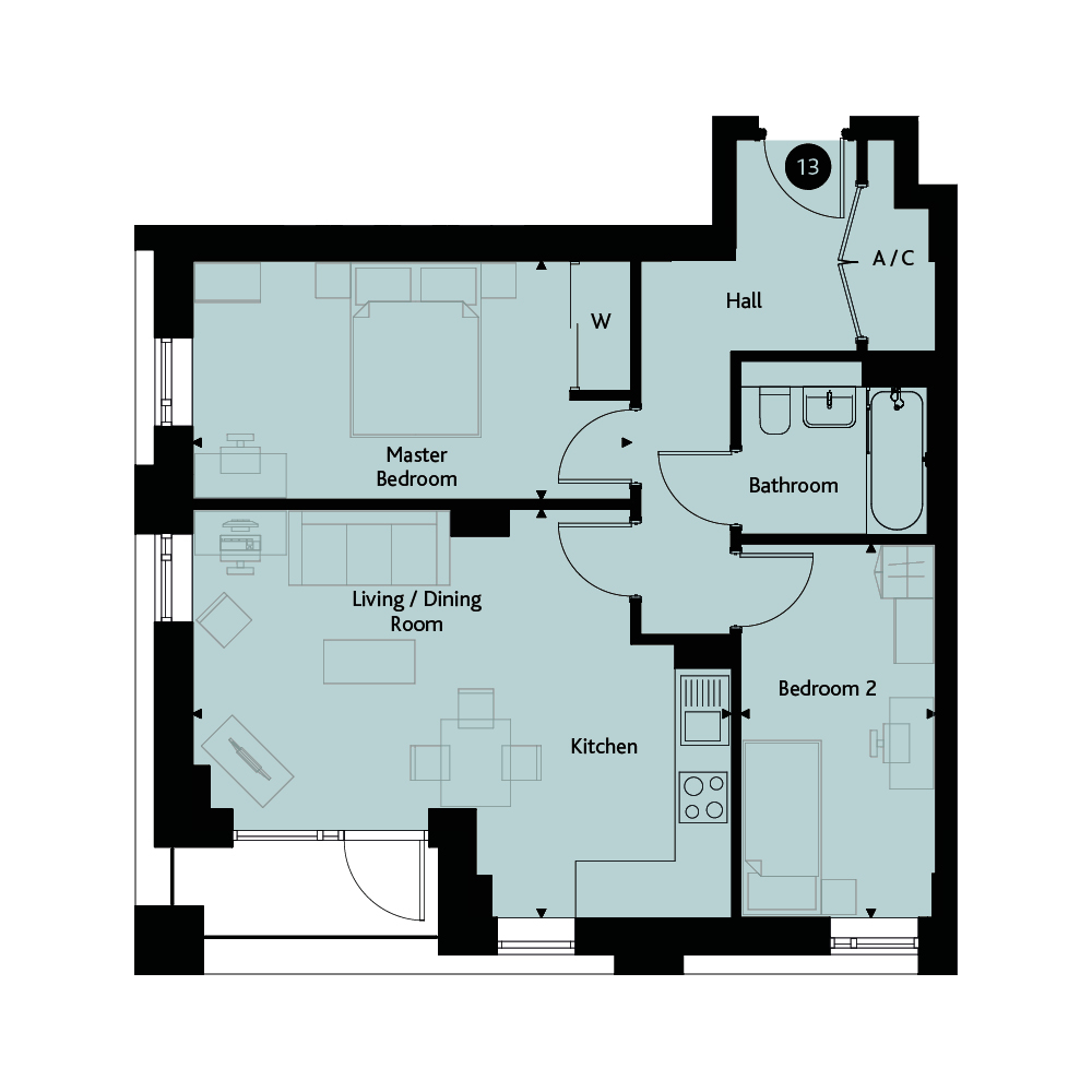Apartment 2B floorplan image