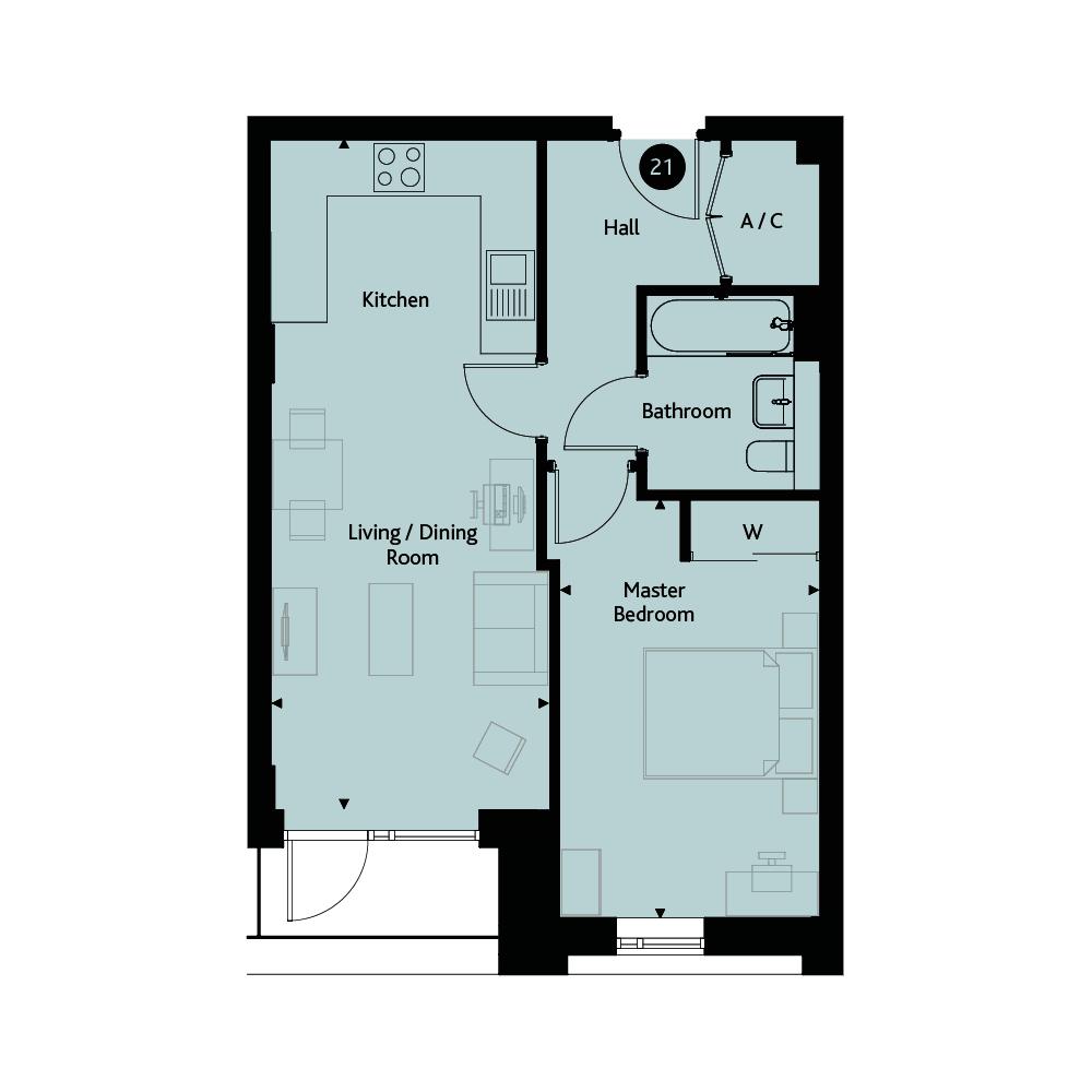 Apartment 1G - Second Floor floorplan image