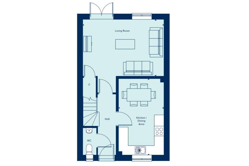 The Evesham Ground Floor plan